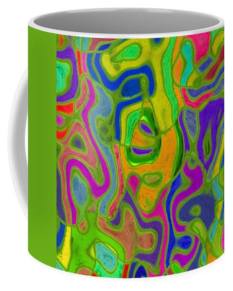 Romanovna Graphic Design Coffee Mug featuring the digital art Green Metallica Abstract by Georgiana Romanovna