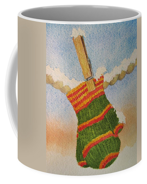 Children Coffee Mug featuring the painting Green Mittens by Mary Ellen Mueller Legault