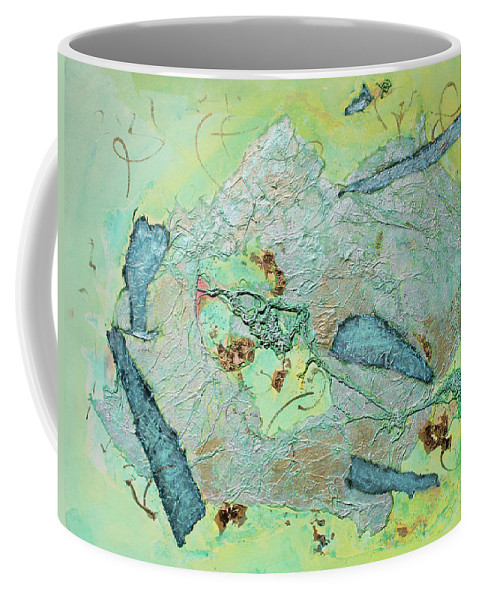 Abstract Painting Coffee Mug featuring the painting Green of the Earth Plane by Asha Carolyn Young