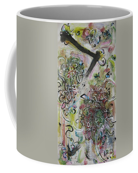 Yellow Green Pink Brown Paintings Coffee Mug featuring the painting Green Pink Brown Abstract Art Spring Color Blossom Flower Butterfly Painting Abstract Acrylic Ink Ar by Seon-Jeong Kim
