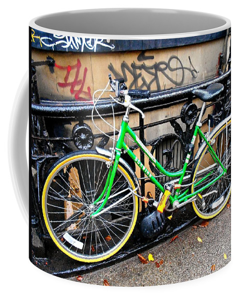 New York City Bicycle Coffee Mug featuring the photograph Green Schwinn Bike Nyc by Joan Reese
