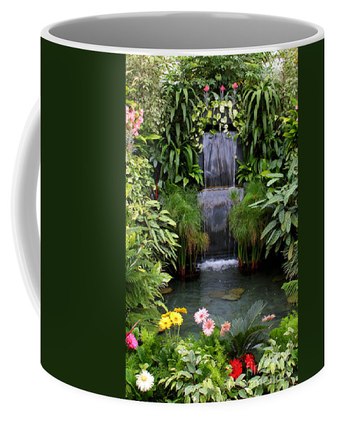 Waterfall Coffee Mug featuring the photograph Greenhouse Garden Waterfall by Carol Groenen
