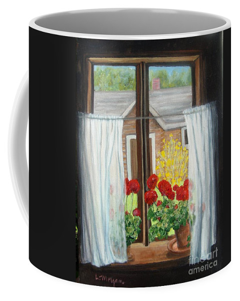 Windows Coffee Mug featuring the painting Greet The Day by Laurie Morgan