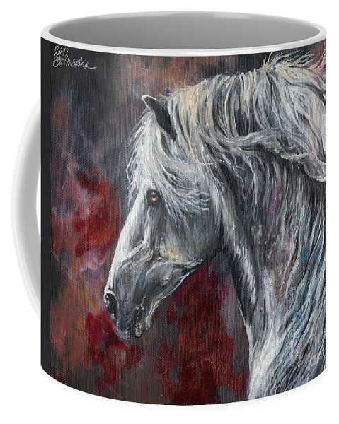 Horse Coffee Mug featuring the painting Grey Andalusian Horse Oil Painting 2013 11 26 by Angel Ciesniarska