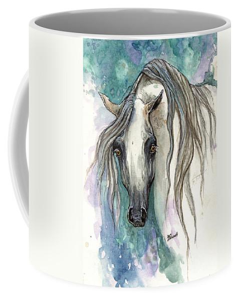 Horse Coffee Mug featuring the painting Grey Arabian Horse 2013 11 26 by Angel Ciesniarska