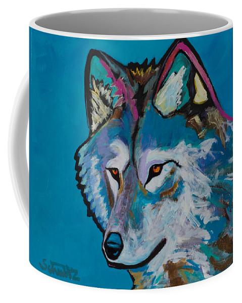 Grey Wolf Coffee Mug featuring the painting Grey Wolf by John Schultz