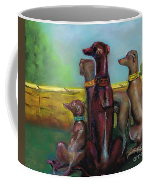 Greyhound Coffee Mug featuring the painting Greyhound Figurines by Frances Marino