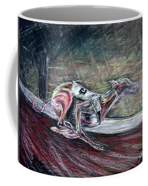 Dog Coffee Mug featuring the drawing Greyhound Number Three by Tom Conway