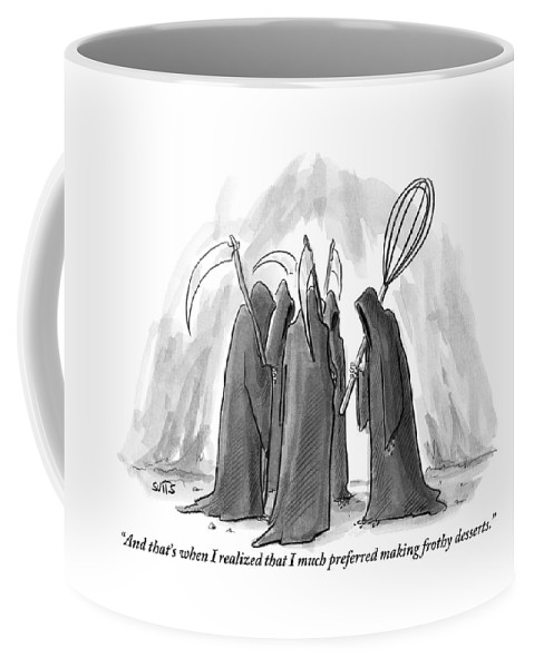 Grim Reaper Coffee Mug featuring the drawing Grim Reapers Stand In A Circle by Julia Suits