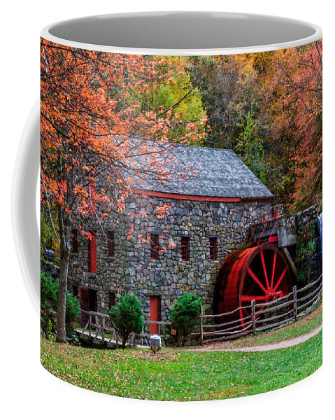 Grist Mill In Autumn Coffee Mug featuring the photograph Grist Mill In Autumn by Laura Duhaime