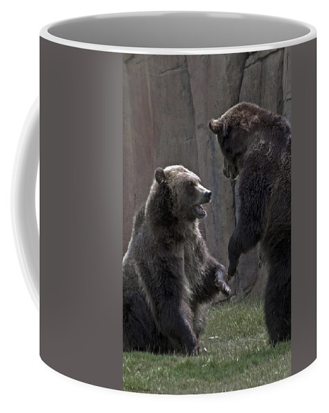 Grizzly Coffee Mug featuring the photograph Grizzlies At Play by John Dauer