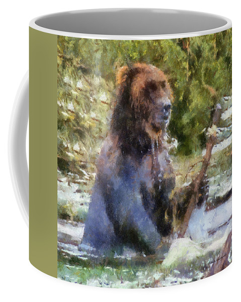 Grizzly Coffee Mug featuring the photograph Grizzly Bear Photo Art 02 by Thomas Woolworth