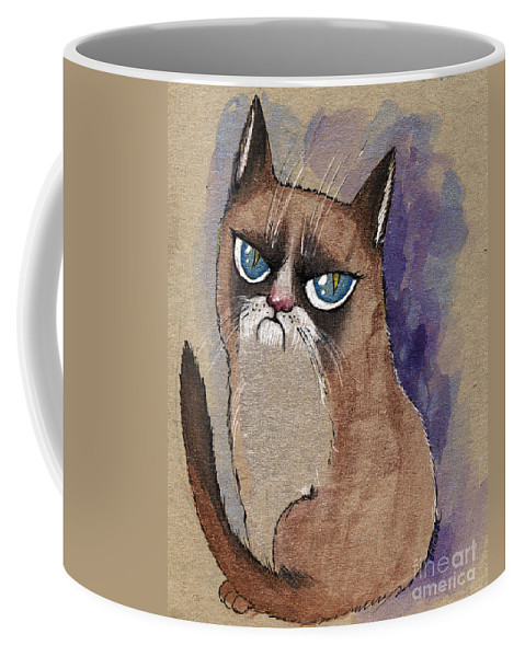 Cat Coffee Mug featuring the painting Grumpy Cat Is Watching You by Angel Ciesniarska