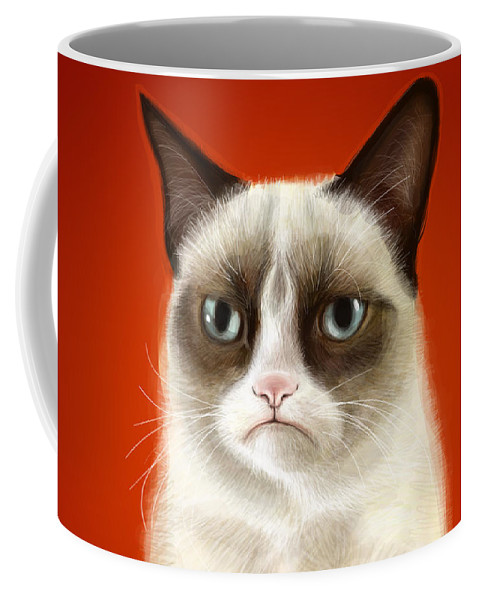 Grumpy Coffee Mug featuring the digital art Grumpy Cat by Olga Shvartsur