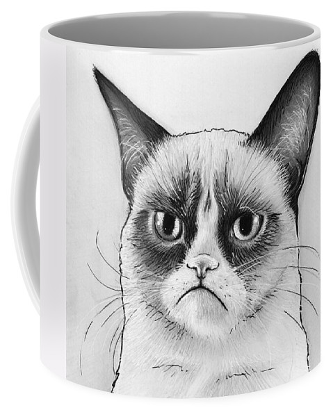 Grumpy Cat Coffee Mug featuring the drawing Grumpy Cat Portrait by Olga Shvartsur