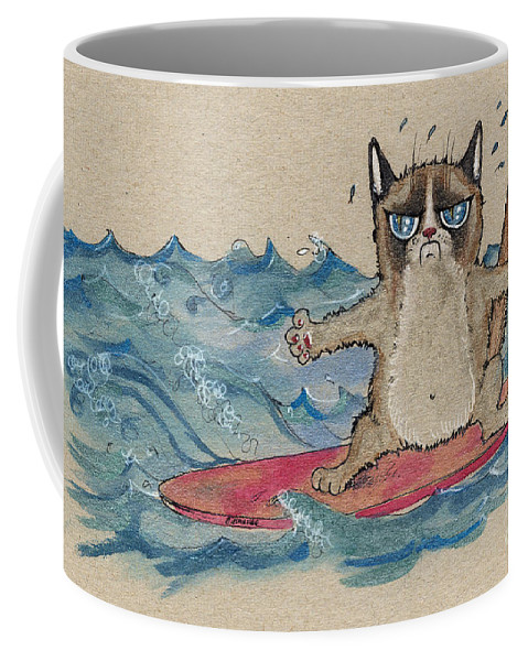 Cat Coffee Mug featuring the painting Grumpy Cat Surfing by Angel Ciesniarska