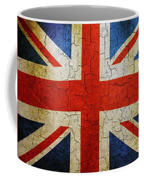 Aged Coffee Mug featuring the digital art Grunge Union Flag by Steve Ball