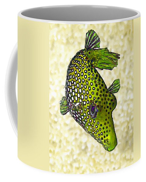Nature Coffee Mug featuring the digital art Guinea Fowl Puffer Fish In Green by ABeautifulSky Photography by Bill Caldwell