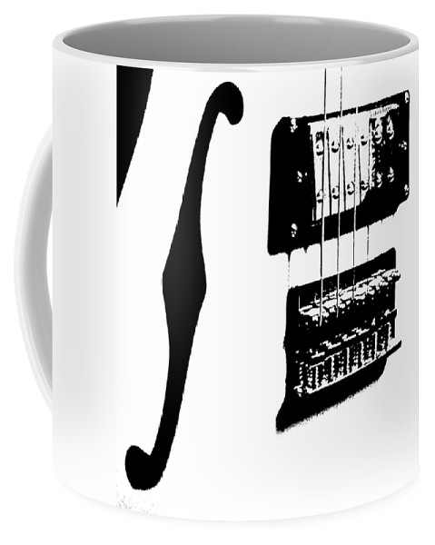 Music Coffee Mug featuring the photograph Guitar Graphic In Black And White by Chris Berry