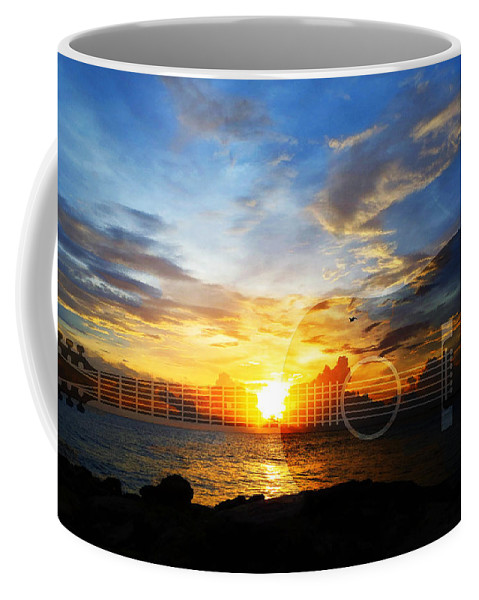 Guitars Coffee Mug featuring the painting Guitar Sunset - Guitars By Sharon Cummings by Sharon Cummings