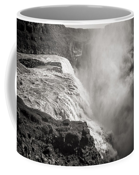 First Golden Circle Coffee Mug featuring the photograph Gullfoss Iceland In Black And White by For Ninety One Days