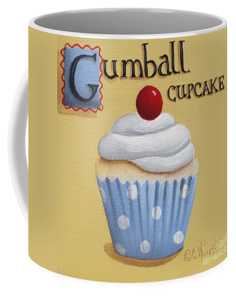 Art Coffee Mug featuring the painting Gumball Cupcake by Catherine Holman