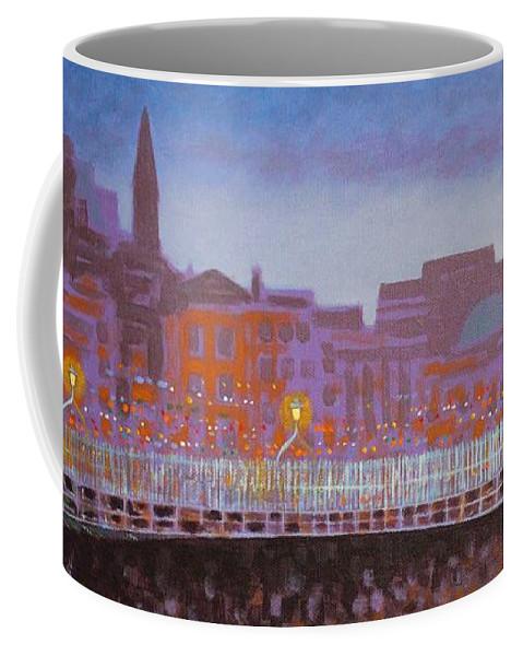 Dublin Coffee Mug featuring the painting Ha Penny Bridge Dublin Cropped by John Nolan