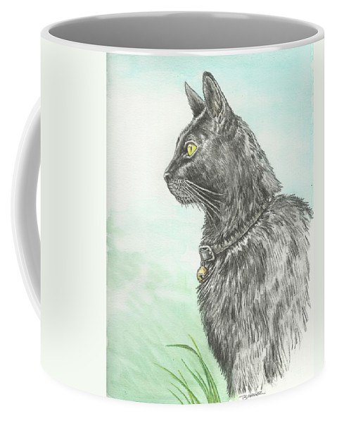 Cat Portrait Coffee Mug featuring the painting Hades Surveying His Domain by Sue Bonnar