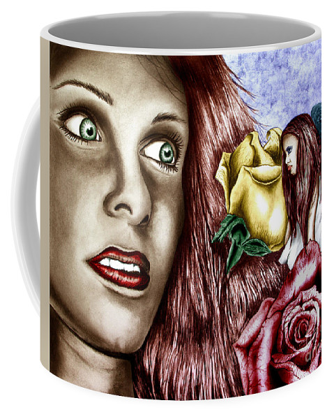 Haleys Apparition Coffee Mug featuring the drawing Haleys Apparition Colored by Peter Piatt