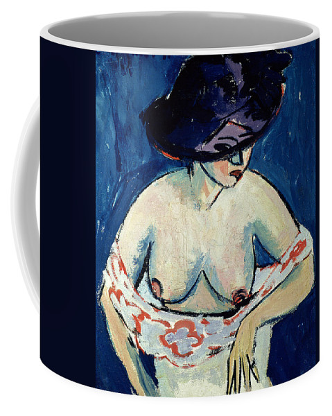 Female Coffee Mug featuring the painting Half Naked Woman With A Hat by Ernst Ludwig Kirchner