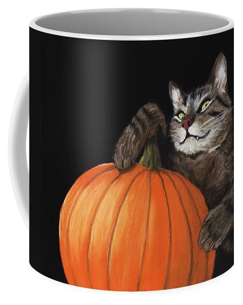 Cat Coffee Mug featuring the painting Halloween Cat by Anastasiya Malakhova