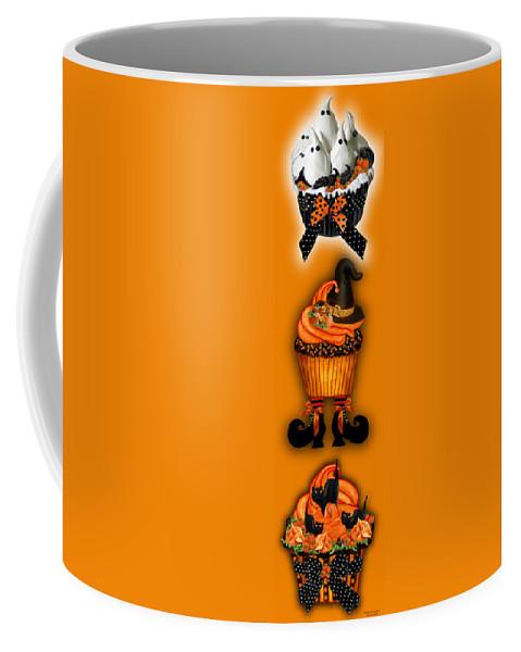Halloween Art Coffee Mug featuring the mixed media Halloween Cupcakes - Orange by Carol Cavalaris