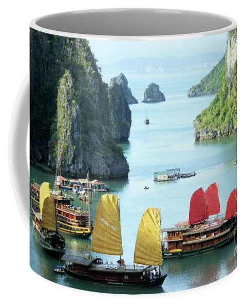 Vietnam Coffee Mug featuring the photograph Halong Bay Sails 01 by Rick Piper Photography