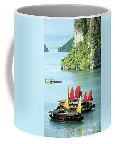 Vietnam Coffee Mug featuring the photograph Halong Bay Sails 02 by Rick Piper Photography