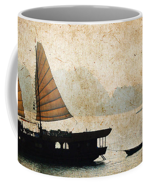Vietnam Coffee Mug featuring the photograph Halong Bay Vintage by Delphimages Photo Creations