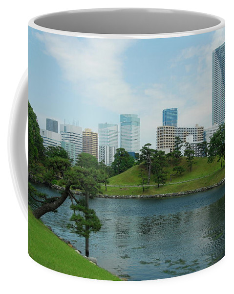 Japanese Coffee Mug featuring the photograph Hama Rikyu Japanese Garden by Jonah Anderson