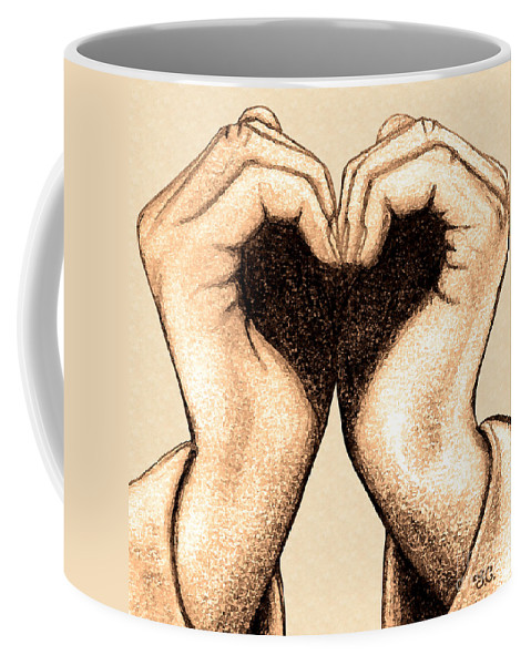 Heart Coffee Mug featuring the digital art Hand Heart by Jaison Cianelli