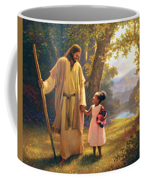 Jesus Coffee Mug featuring the painting Hand in Hand by Greg Olsen