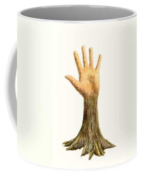 Hand Coffee Mug featuring the painting Hand Tree by Michael Vigliotti