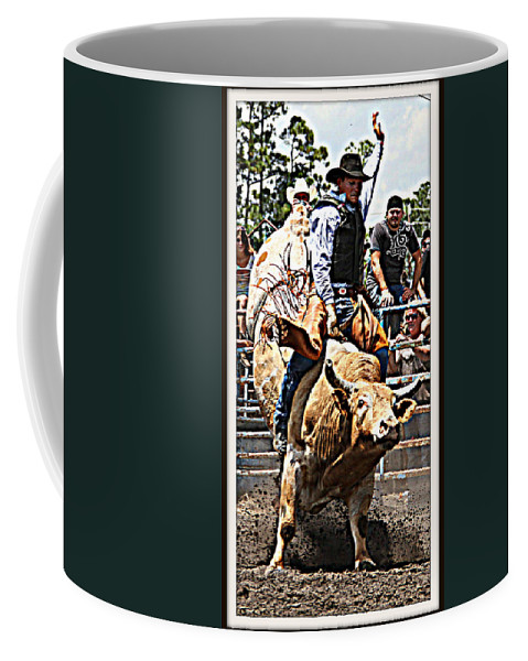 Bullrider Rodeo Bull Coffee Mug featuring the photograph Hand Up High by Alice Gipson