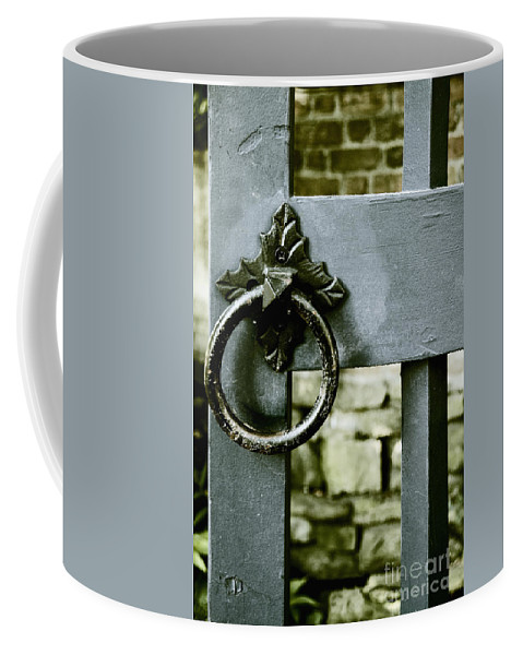 Gate Coffee Mug featuring the photograph Handle On Blue by Margie Hurwich