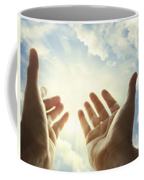 Seek Coffee Mug featuring the photograph Hands In Sky by Les Cunliffe