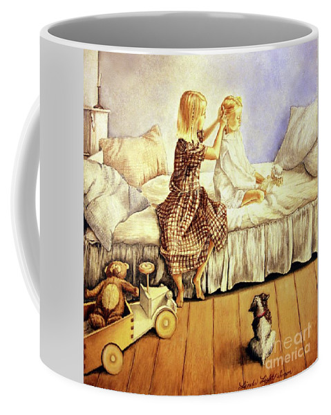 Animals Coffee Mug featuring the painting Hands Of Devotion - Childhood by Linda Simon