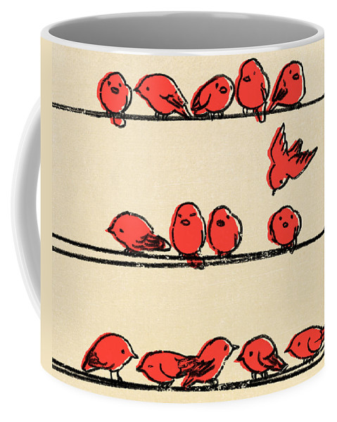 Birds Coffee Mug featuring the drawing Hanging Out by Eric Fan