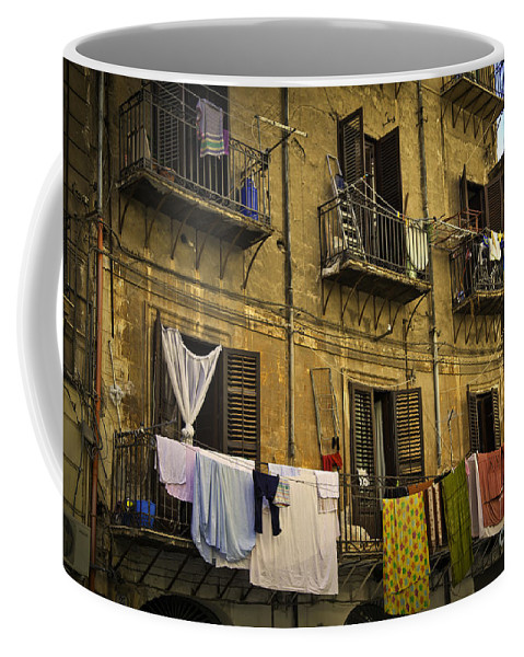 Laundry Coffee Mug featuring the photograph Hanging Out To Dry In Palermo by Madeline Ellis