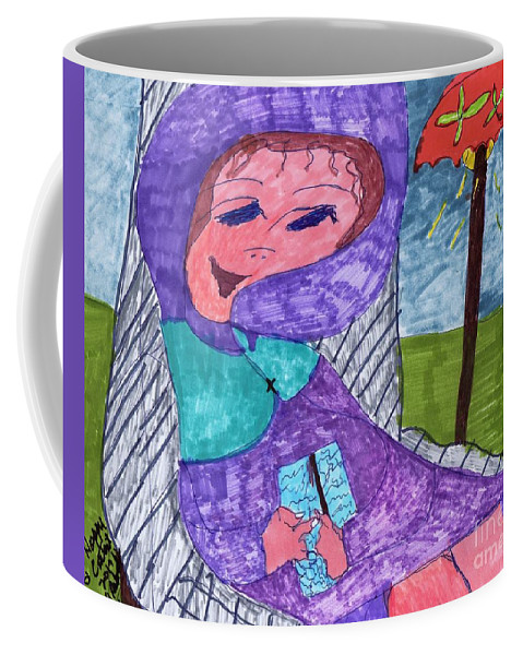 Purple Attire For This Lady Sitting In A Chair. Coffee Mug featuring the mixed media Happy And Content by Elinor Helen Rakowski