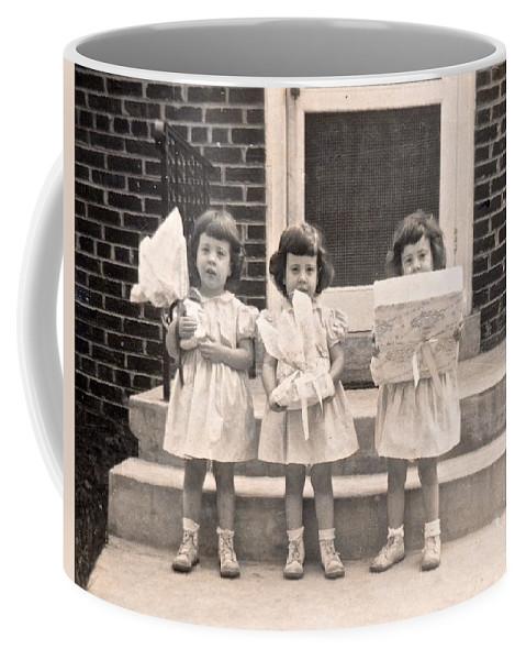Triplet Children Coffee Mug featuring the photograph Happy Birthday Retro Photograph by Kristina Deane