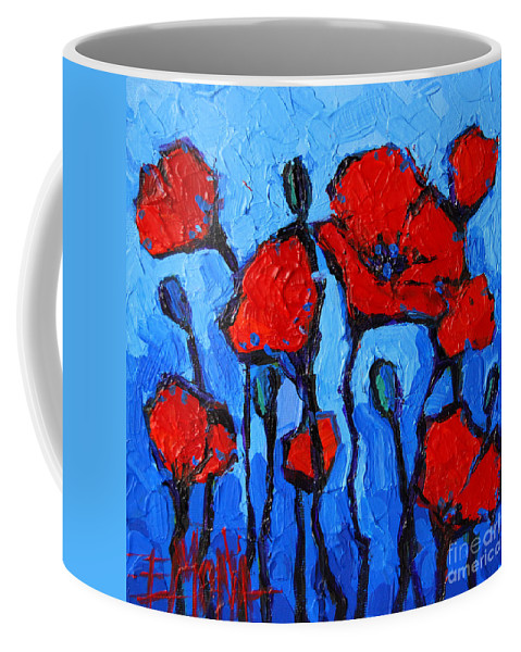 Happy Coquelicots Coffee Mug featuring the painting Happy Coquelicots by Mona Edulesco