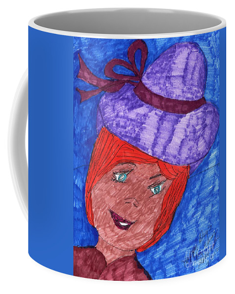 Blue Eyed Lady Red Hair Purple Hat Coffee Mug featuring the mixed media Happy Days by Elinor Rakowski