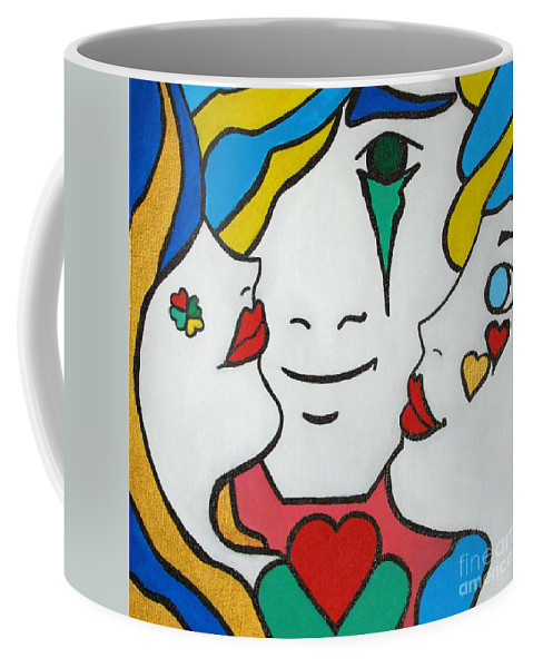 Pop-art Coffee Mug featuring the painting Happy Days by Silvana Abel
